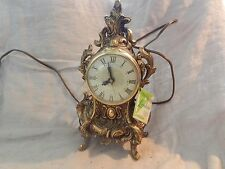 Vintage Lanshire Brass Mantel Clock Louis XV Style Ornate with Tag