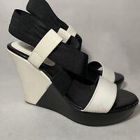 Charles by Charles David Womens Wedge Sandal Heels Black & White Patent Size 6M