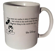 """Mickey Mouse """"Kick in the teeth may be the best thing""""quote 11oz coffee tea mug"""