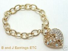 Clear Crystals Heart Chain LinkToggle Bracelet-Goldtone
