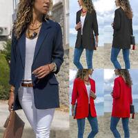 Moda donna lunga manica Cardigan Casual bavero giacca tuta giacca Outwear