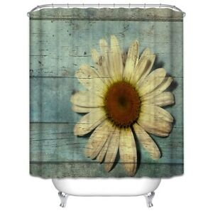 Sunflower Rustic Wood Boards Shower Curtain 70x70 Country Primitive Planks