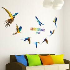 Eight Beutiful Flying Parrot PVC Wall Sticker Birds Animal Kids Bedroom Decal