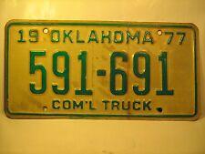 COM'L TRUCK TAG License Plate 1977 OKLAHOMA #591-691 [Y59D4]