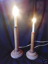 PRIMITIVE VINTAGE WOOD BOBBIN SPOOL ELectric Candle Light Lamp