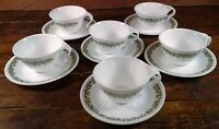 Hook Cups Saucers Set of 6 Corelle Crazy Daisy Green White Corning Ware Dishes