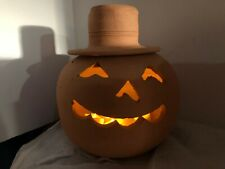 "Vintage Hewell's Pottery Terracotta Jack O Lantern Pumpkin Halloween 11"" Nice"