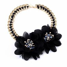 Fashion 2 Flowers Gold Lace Chokers Necklaces Chain Statement Jewellery