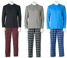 Chaps Mens Pajama Set 2 pc Henley Plaid Micro Fleece Pants sizes S M L XL NEW