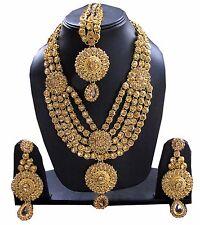 Polki kundan gold Indian bridal Necklace earrings Set bollywood wedding jewelry