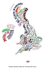 England Rugby Poster A1- Art Map- (Sports Rugby Union Football)