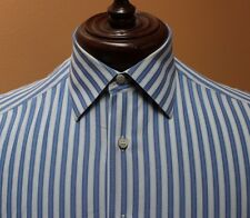 Stefano Ricci Dress Shirt French Cuff Blue White Stripes Cotton 15.5 Made Italy