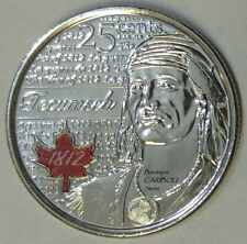 2012 Canada Tecumseh Coloured 25 Cents BU