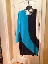 MISOOK Peacock Black Ivory Color block Acrylic Knit Dress L