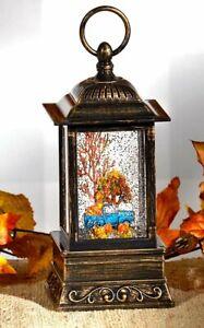 NEW Autumn Fall Truck Pumpkins Swirling Glitter LED Lighted Water Globe Lantern