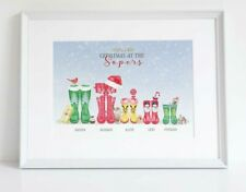 Christmas Personalised Wellington Welly Boot Wellies Family Print Gift UNFRAMED