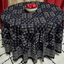 "Handmade 100% Cotton Hand Block Print Dabu Tablecloth 90"" Round Black White"