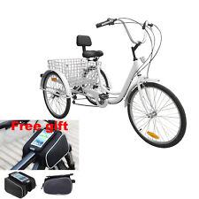 "3-Wheel Adult 24"" Tricycle Bike Bicycle Trike Cruise 6-Speed w/ Phone Holder Bag"