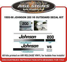 1995 - 98  JOHNSON 200 V6  OCEAN RUNNER DECAL KIT  REPRODUCTION  225