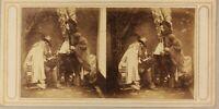 Francia Scena Artistica Illustrato Foto Stereo P8L2n2 Vintage Albumina Ca 1858