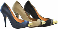 Ladies Womens High Heel Gold Tip Court Shoes Snake Office Evening Casual Size