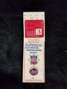 Vintage 1986 New York NY Mets Game 3 National League Championship Ticket Stub