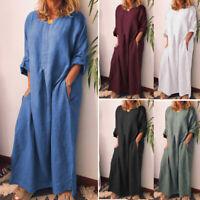 Oversize Women Full Kaftan Length Tops Shirt Long Cotton Maxi Dress