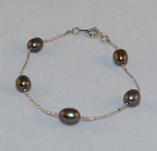 "Women's Bracelet 18 KT Solid White Gold Royal Tahitian Black Pearls 7"" Length"