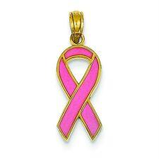 Gent's Ladies 14K Yellow Gold Polished Pink Enameled Awareness Ribbon Pendant