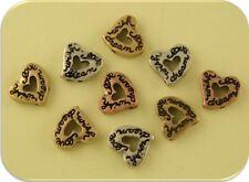 "2 Hole Beads Hearts Mini Engraved ""wish love dream"" 3T Metal ~ Sliders QTY 9"