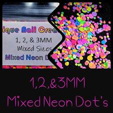 1, 2,& 3MM Mixed Neon DOT Glitter~Nail Art•Acrylic•Gel•Body Art•Festival•Craft