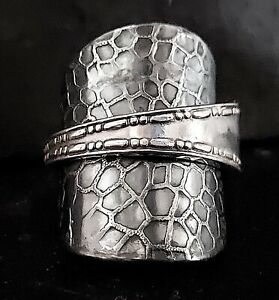 Solid sterling silver hallmarked antique 1916 Giraffe spoon ring SIZES N - S