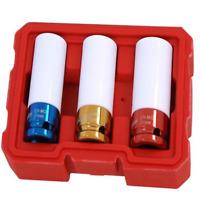 "3pc Locking Wheel Nut Sockets 1/2"" Dr. Thin Wall Non Marking Sleeved 17-19-21mm"