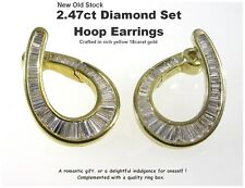 18ct Gold Diamond Hoop Earrings 2.5ct DIA Yellow Gold Fabulous New Old Stock