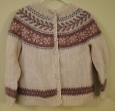 Vintage Hilda Ltd. Ivory Cream Icelandic Wool Sweater Cardigan Women's Sz SM