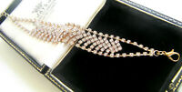 JEWELLERY CLEAR FACETTED RHINESTONE ART DECO GOLD SPARKLING COCKTAIL BRACELET