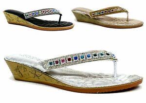 Ladies New Shiny Stone Toe Post Gladiator Wedge Heel Comfy Summer Party Sandal