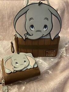 Loungefly Disney Dumbo Bath Barrel Figural Mini Backpack & Wallet NWT