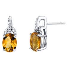 Citrine Sterling Silver Pirouette Drop Earrings 2.25 Carats Total