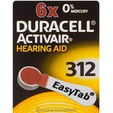 """6x DURACELL EasyTab 312 ACTIVAIR Hörgeräte-Batterie PR41 braun"