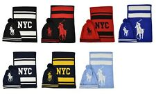 Ralph Lauren Polo New York NYC Big Pony Beanie Hat & Scarf Set New $246