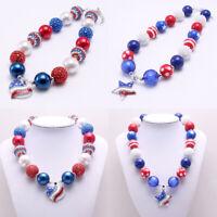 Bubblegum Beads American National Flag Crystal Star Heart Pendant Kid Necklace