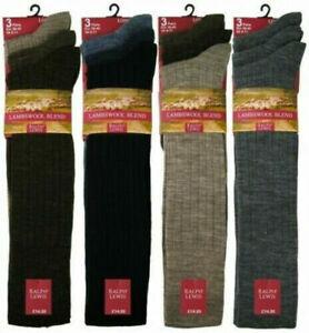 Mens Long Length Ribbed Lambswool Blend Socks (Pack Of 3) LONG HOSE SOCK-WOOL