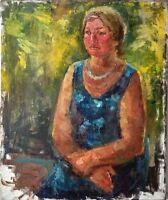 """Russischer Realist Expressionist Öl Leinwand """"Sitzende"""" 90x75 cm"""