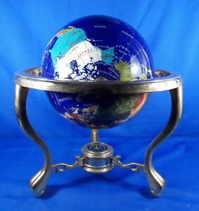 14.5'' Tall Handcrafted Gemstone World Map Globe with Compass