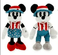 "NEW 2 Disney Americana Collection Mickey Mouse & Minnie Mouse 11"" Plush Dolls"