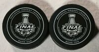 2013 Stanley Cup Final Game 1 2 Puck Chicago Blackhawks Boston Bruins NHL Hockey