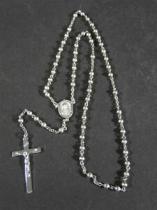 Vintage 1961 Solid All Sterling Silver Strand Catholic Smooth ROSARY BEADS