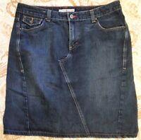 Women's sz 14 Tommy Hilfiger Denim Dark Wash Skirt Back Slit 5 Pocket EUC