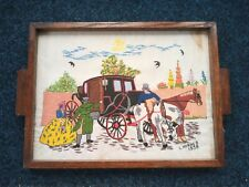 More details for vintage hand embroidered tray. 1938. horse and carriage, crinoline lady, flowers